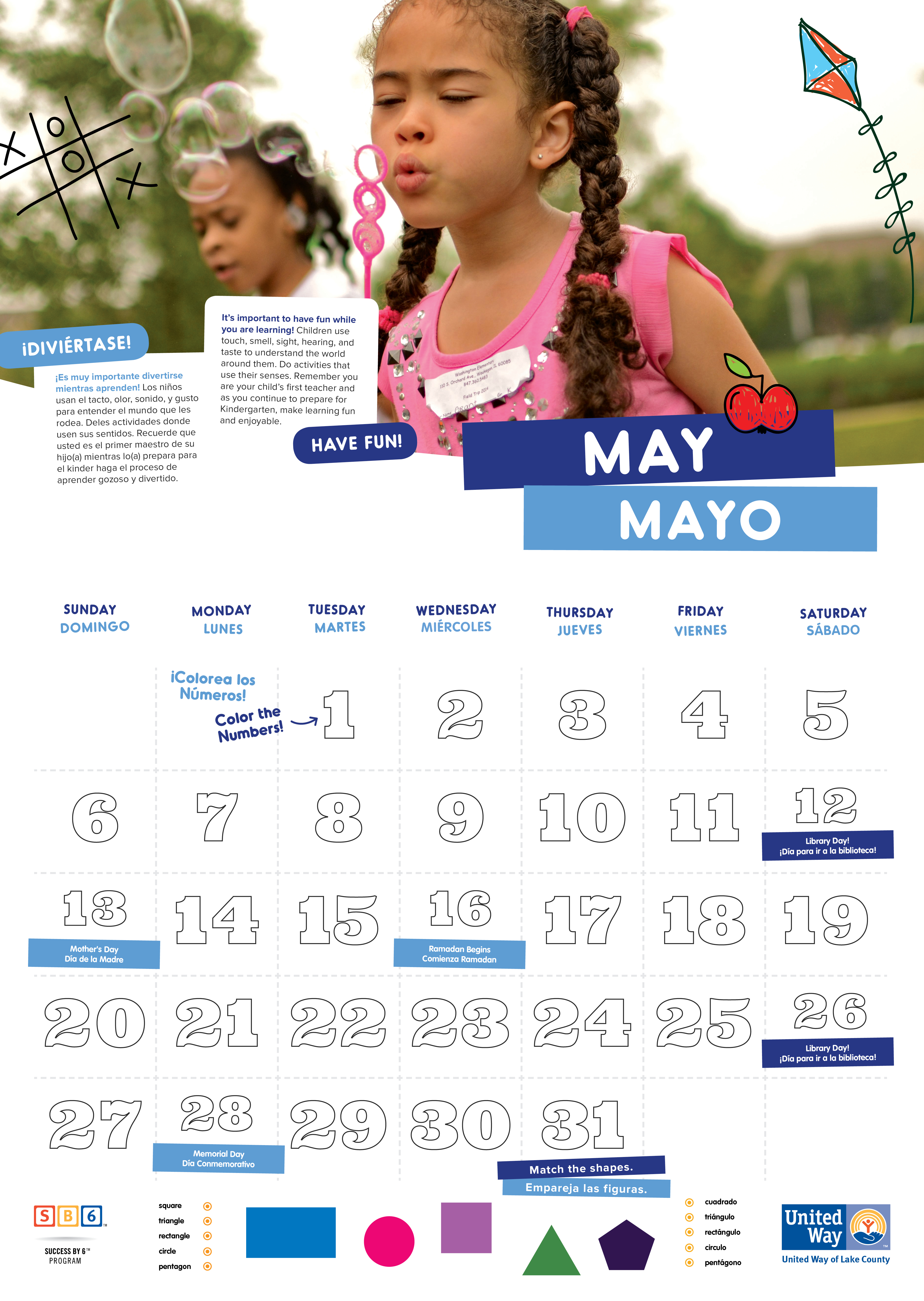 Kindergarten Readiness Calendar : United way of lake county kindergarten readiness